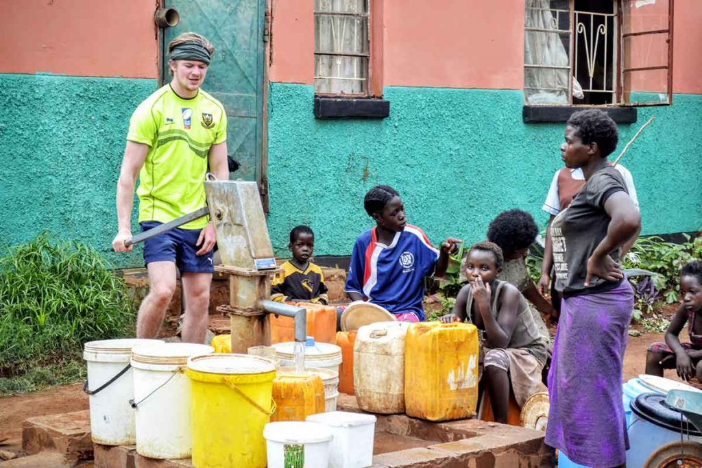 The Tag Rugby Trust helped install a clean water pump in Linda Compound, Zambia.
